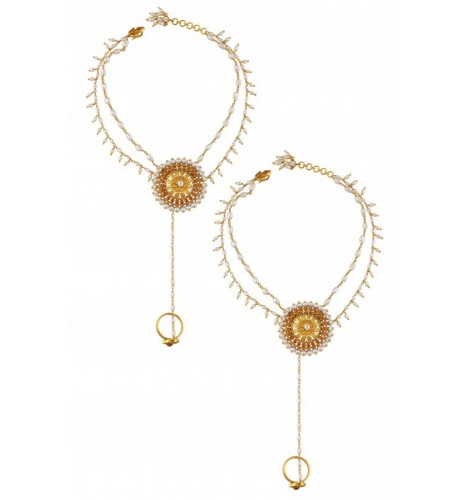 Silver Gold Plated Flower Citrine Pearl Anklet Toe Ring