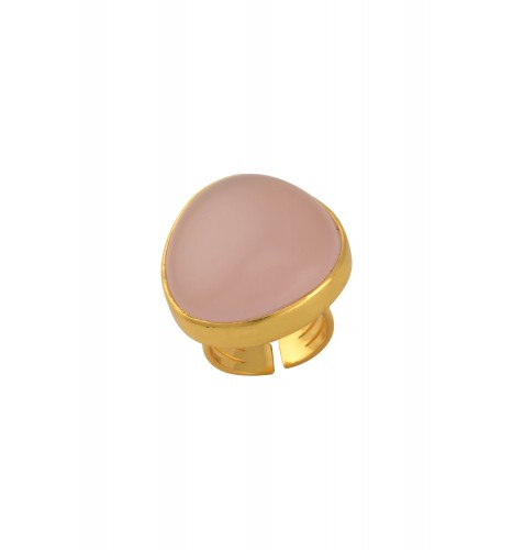Gold Plated Abstract Pink Glass Ring