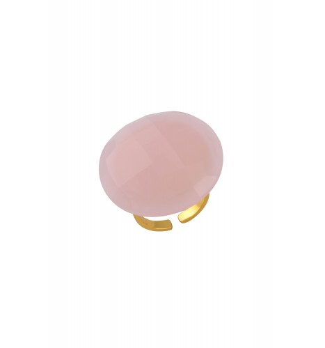 Gold Plated Round Pink Glass Ring