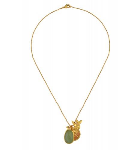 Gold Plated Aventurine Charm Chain Pendant