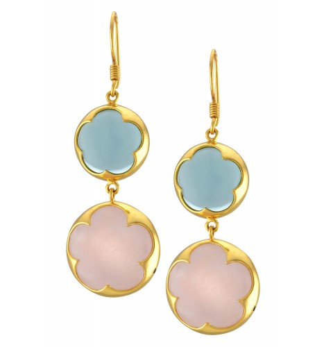 Gold Plated Floral Blue Pink Glass Earrings