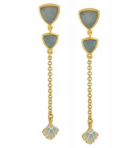 Silver Gold Plated Trillion Aquamarine Leaf Drop Earrings