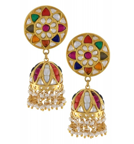 Silver Gold Plated Colorful Floral Chakra Jhumki Earrings