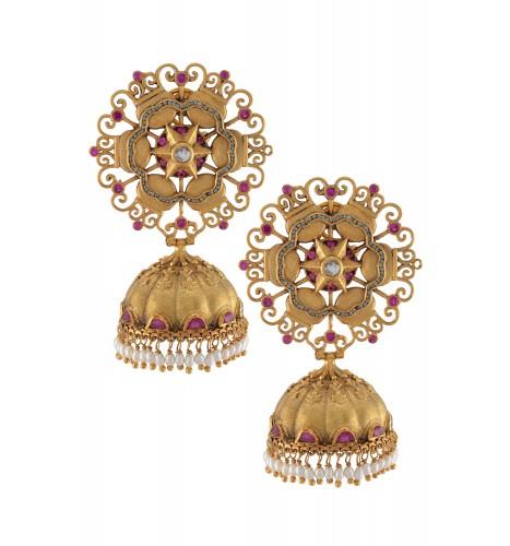 Silver Gold Plated Star Flower Pearl Drop Jhumka Earrings