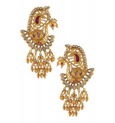 Silver Gold Plated Rawa Jhumki Mayur Earrings