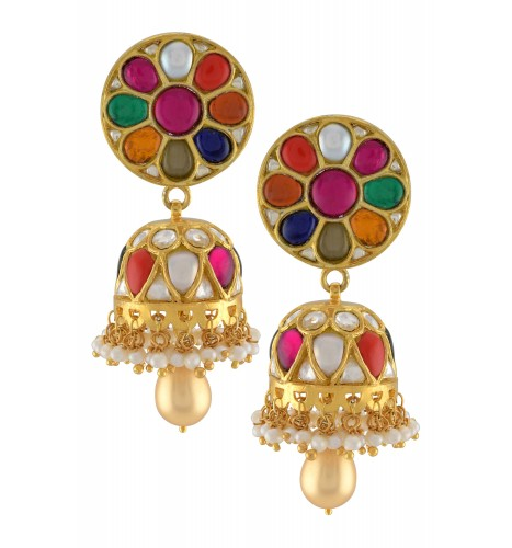 Silver Gold Plated Round Multi Colored Jhumki Earrings