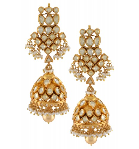 Silver Gold Plated White Glass Lotus Pearl Jhumka Earrings