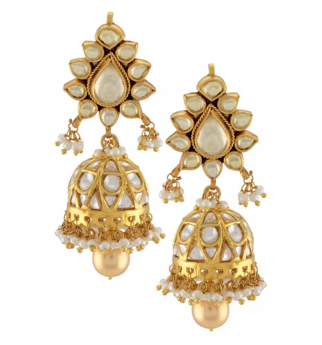 Silver Gold Plated White Glass Lotus Jhumki Earrings