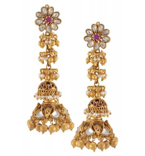 Silver Gold Plated Rawa Pearl Drop Double Jhumki Earrings