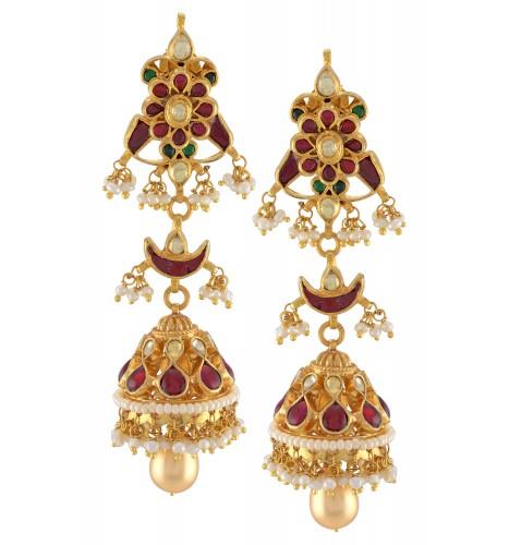 Silver Gold Plated Lotus Moon Jhumki Earrings