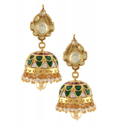 Silver Gold Plated Lotus Colorful Jhumka Pearl Drop Earrings