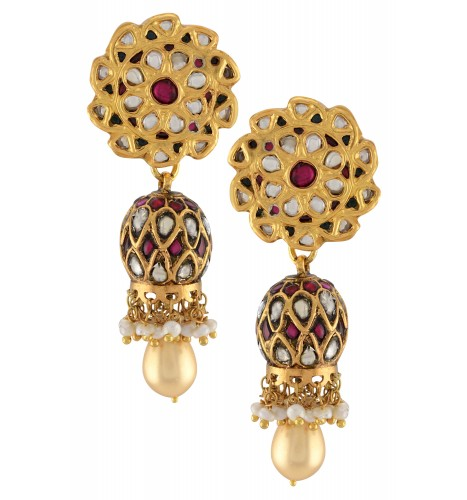 Silver Gold Plated Floral Glass Pearl Drop Jhumki