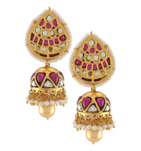Silver Gold Plated Pear Pearl Lined Jhumki
