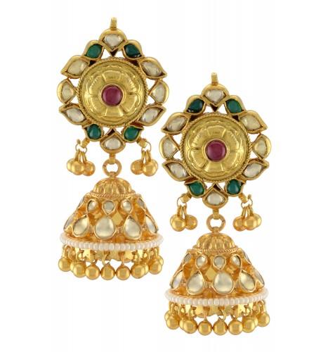 Silver Gold Plated Traditiona Rawa Droplet Jhumki