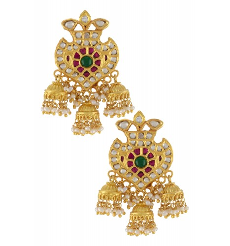 Silver Gold Plated Multi Glass Jhumki Droplet Earrings