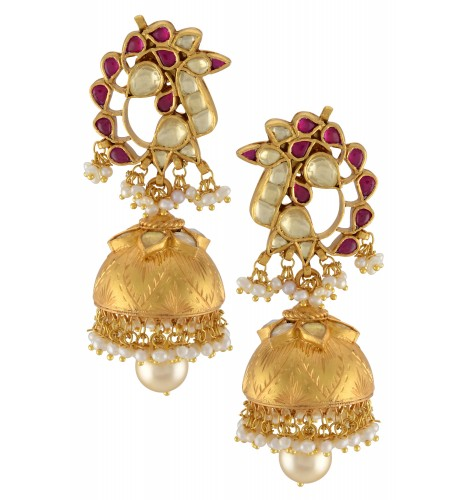 Silver Gold Plated Pink White Glass Peacock Jhumki
