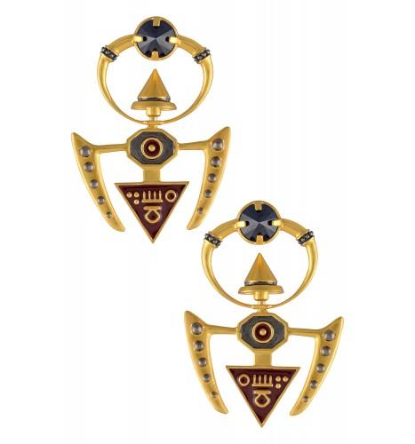 Trishul Inspired Turnable Drop Earrings