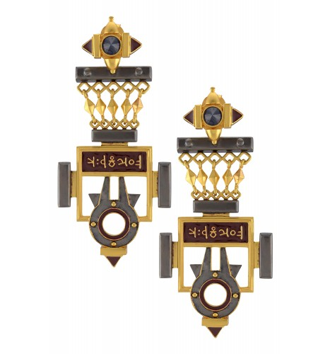 Dual Tone Shiv Yantra Statement Earrings