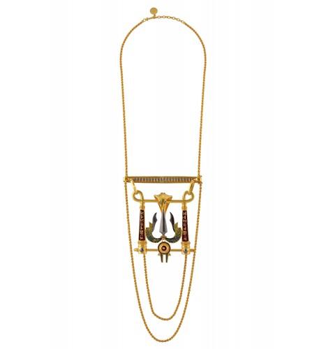 Shiva Trishul Serpent Mantra Statement Necklace
