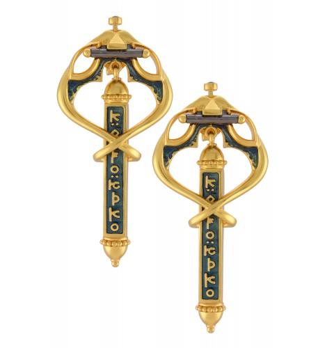 Enamelled Serpent Mantra Earrings