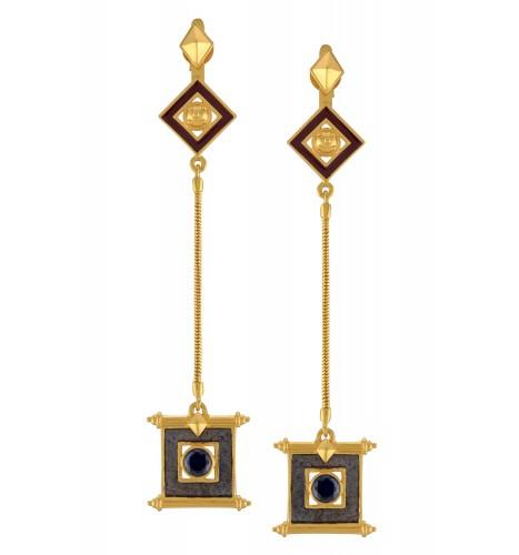Dual Tone Shiv Yantra Chain Drop Earrings