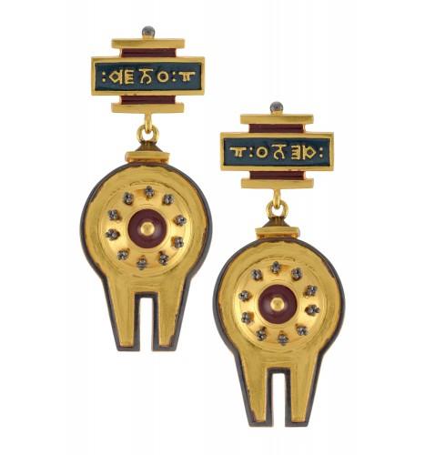 Enamelled Mantra Shivling Drop Earrings