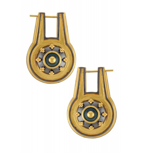 Dual Tone Shivling Double Side Earrings