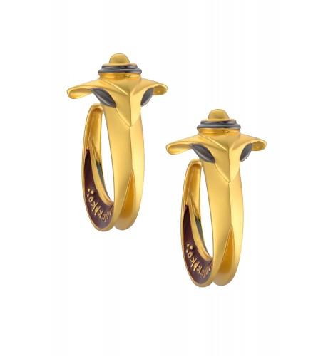 Enamelled Serpent Head Hoop Earrings