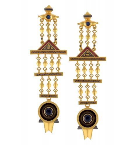 Dual Tone Multi Drop Shivling Earrings