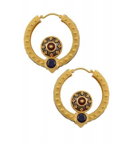Enamelled Mantra Rawa Hoop Earrings