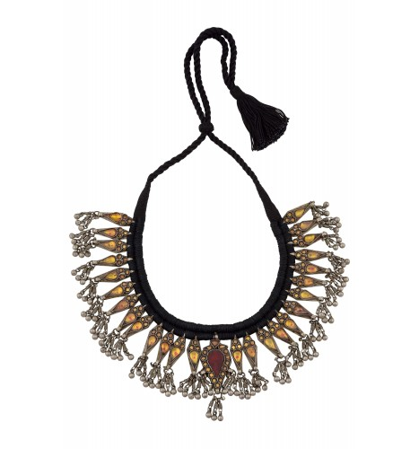 Silver Floral Glass Ghungroo Drop Thread Necklace