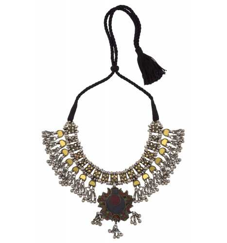 Silver Ghungroo Colored Glass Crescent Thread Necklace
