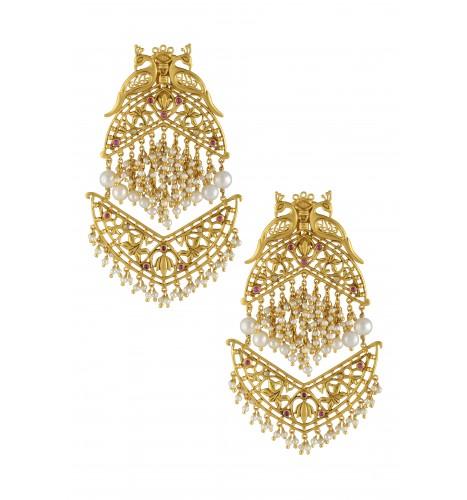 Silver Gold Plated Mayura Lotus Jaali Earrings