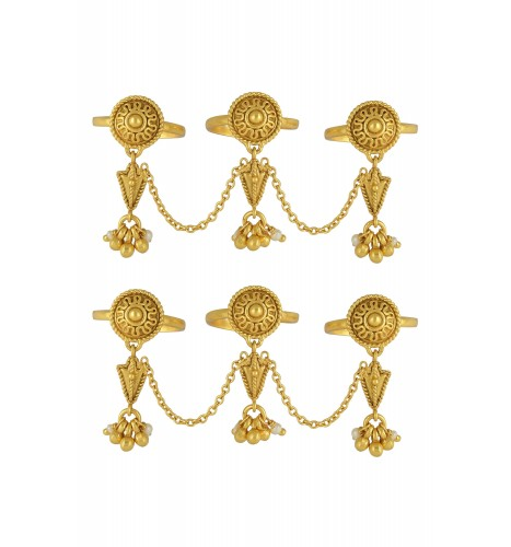 Silver Gold Plated Ghunghroo Pearl Toe Rings