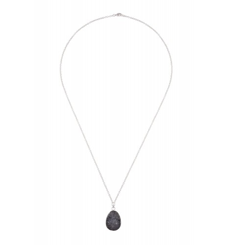 Silver Plated Black Druzy Pendant Necklace
