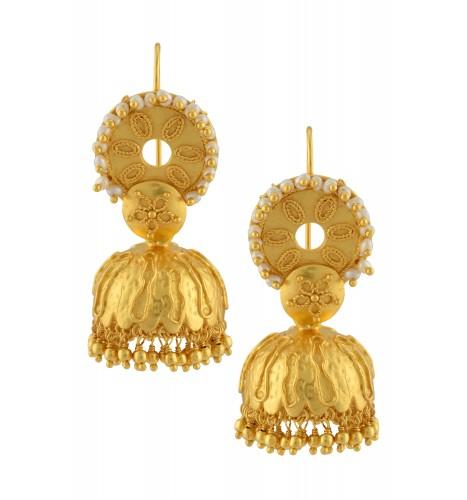 Silver Gold Plated Pearl Rawa Drop Jhumki Earrings