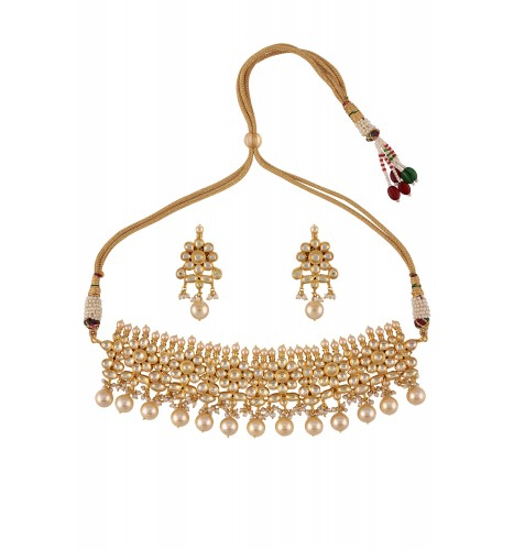 Gold Plated Silver Necklace Set 290 00: Silver Gold Plated White Glass Pearl Drop Floral Necklace