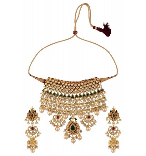 Gold Plated Silver Necklace Set 290 00: Silver Gold Plated Triangle Square Floral Jadau Necklace