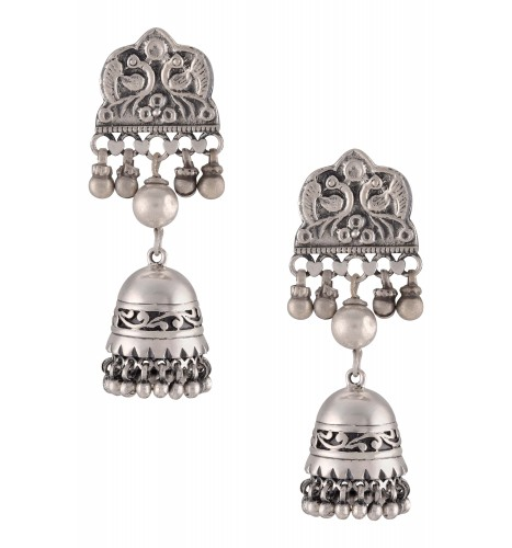 Silver Oxidised Peacock Motif Floral Jhumki Earrings