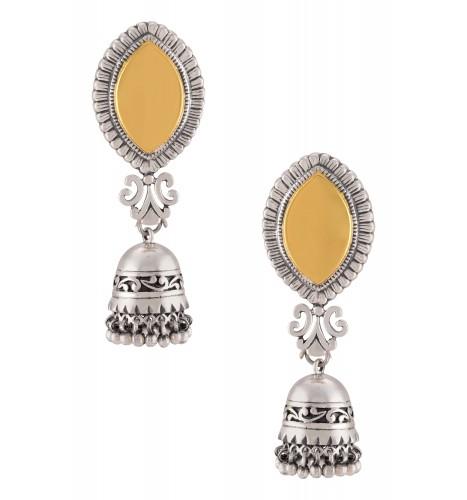 Silver Dual Tone Jhumki Drop Floral Earrings