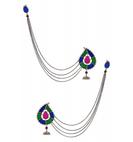 Silver Plated Pasley Glass Earrings With Hair Chain