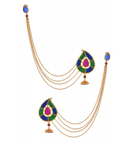 Gold Plated Pasley Glass Earrings With Hair Chain
