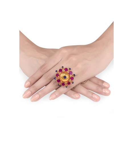 Gold plated pink flower ring gold plated pink flower ring loading zoom prev mightylinksfo