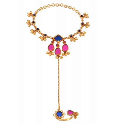 Gold Plated Colored Glass Ball Drop Floral Hathphool