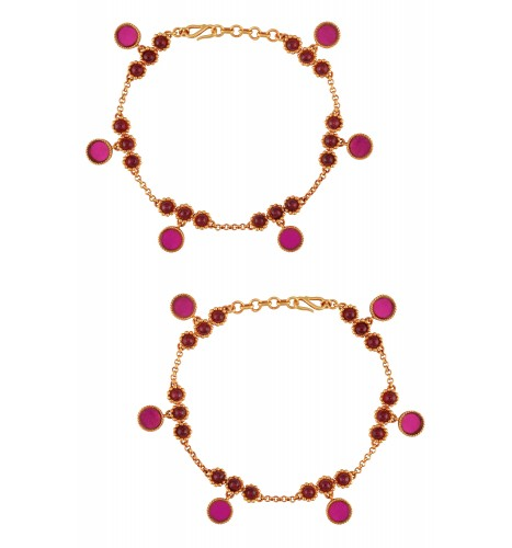 Gold Plated Pink Colored Glass Flower Anklets