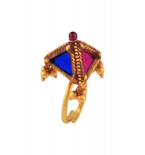 Gold Plated Colored Glass Pyramid Ball Drop Ring