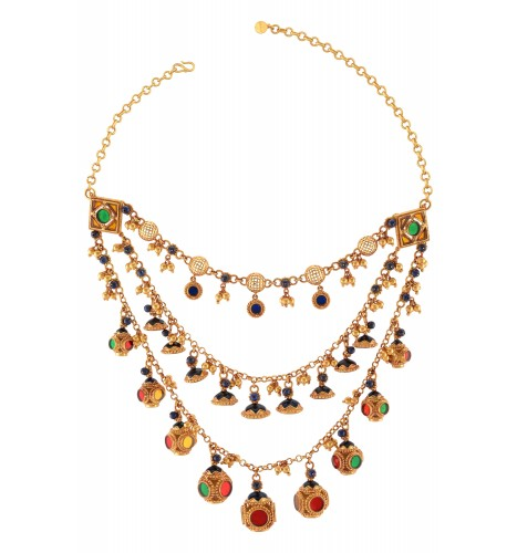 Gold Plated Triple Strand Colored Glass Necklace