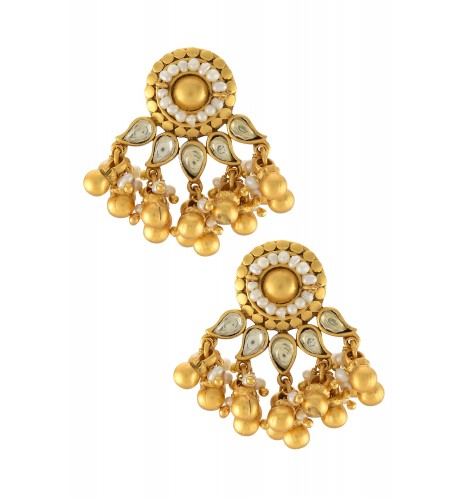Silver Gold Plated Flower Pearl Ghungroo Ear Studs