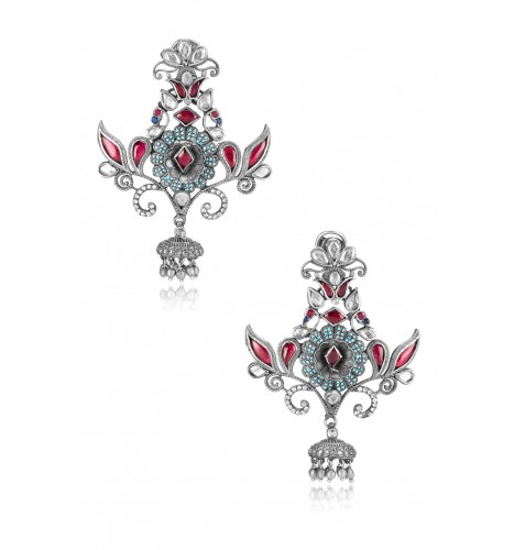 Silver Floral Glass Crystal Floral Earrings