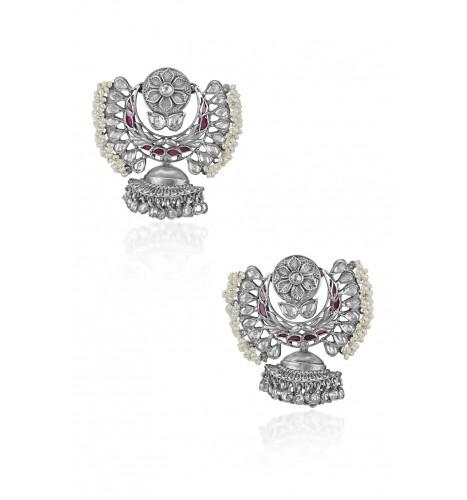 Silver Floral Glass Pearl Lined Jhumki Drop Moon Earrings
